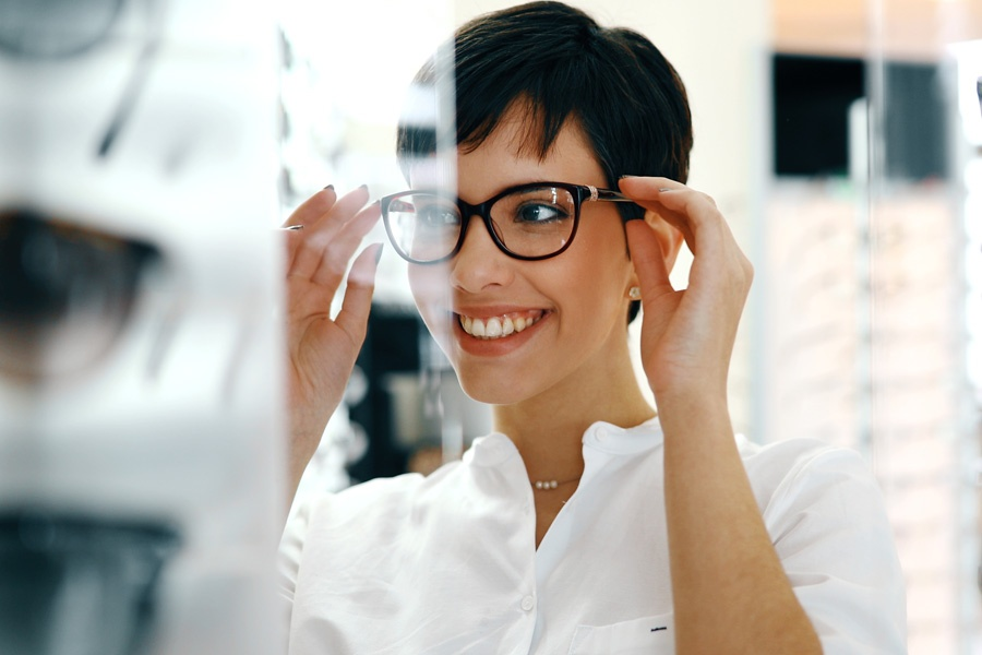Group Vision Insurance - Woman Picking Out New Glasses