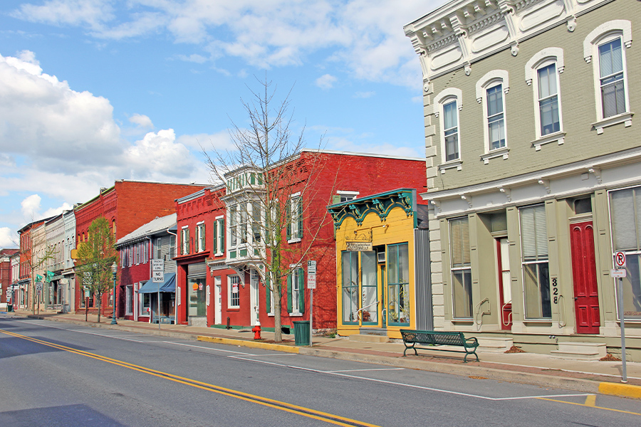 Lewisburg, PA - Street View of Town and Shops on a Bright Sunny Day